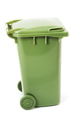 Green closed wheely recycling bin