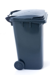 Grey closed recycling wheely bin for garbage collection