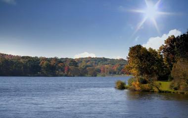 Scenic autumn landscape on a bright sunny day
