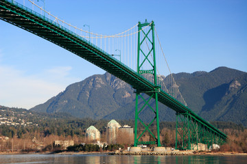 Lions Gate Bridge in Vancouver. Early morning light.