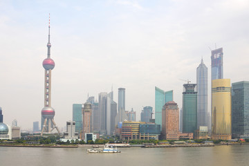 Wall Murals Shanghai View of the modern Pudong district in Shanghai