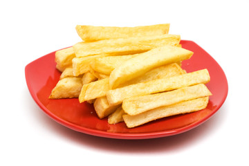 French fries on white background. Junk food image series