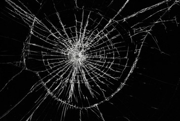 Broken window, background of cracked glass