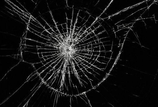 Broken window, background of cracked glass