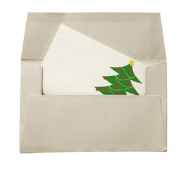 envelope with a christmas card isolated on white background