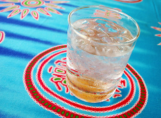 Glass of iced water.