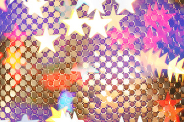 Wall Mural - Abstract golden links and stars texture.