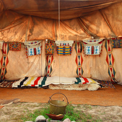 Photo sur Plexiglas Indiens interior of the Indian tent
