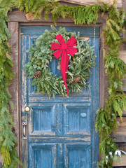Christmas wreath on an old door