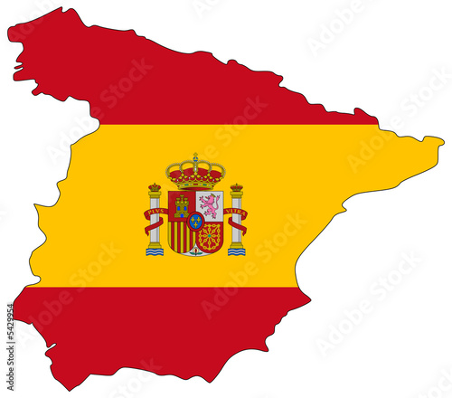 Map Of Spain For Coloring.Map Of Spain Colored In National Colors Stock Photo And Royalty