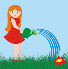 The girl with a watering can in solar summer day
