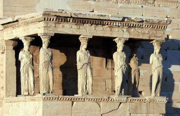 Athens, Greece - Caryatids, detail from Athens  Acropolis