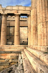 Athens, Greece - Detail of the entrance to the Acropolis