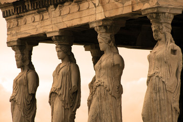 Spoed Fotobehang Athene Athens, Greece - Caryatids, sculpted female figures