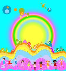 Door stickers Rainbow kids playing