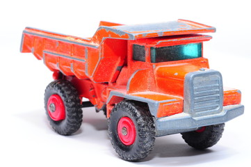 Old orange toy truck