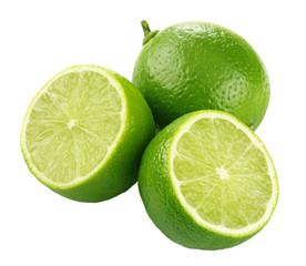 Three limes on white background