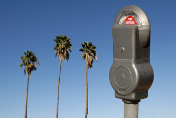 Expired Parking Meter Against Palm Trees Illustrates Time