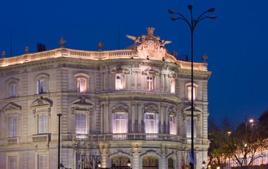 Casa de America at dusk, Madrid, Spain