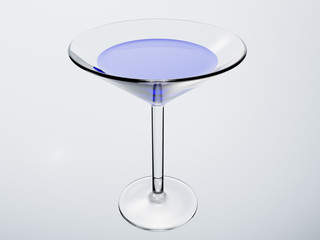 the cocktail glass with cocktail on white background