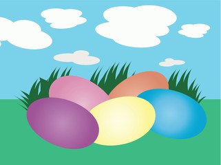 Colorful Pastel Easter Eggs
