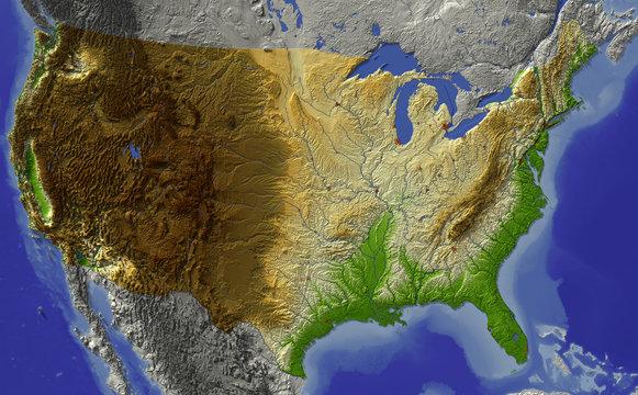 Relief map of conterminous USA.