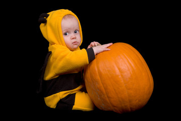 Baby Girl in a bumble bee custume