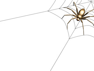 The gold 3d spider sitting on a black web