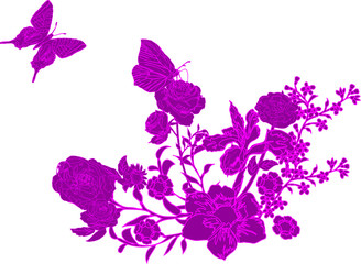 pink butterfly and flowers decoration