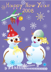 illustration with snowman