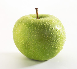 GREEN APPLE WITH WATERDROPS