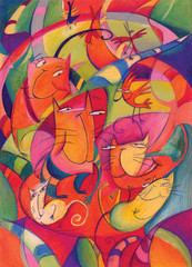 GROUP OF COLORFUL CATS