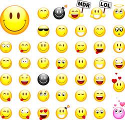 Lot de smileys, image vectorielle