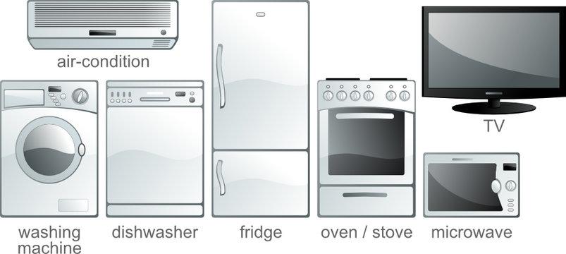Icon set - home equipment, white goods. Aqua style. Vector