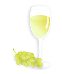 White wine and fresh grapes