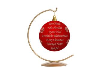 Xmas ball with International seasonal greetings
