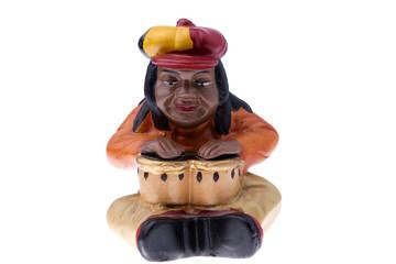 Rastaman statuette playing bongo