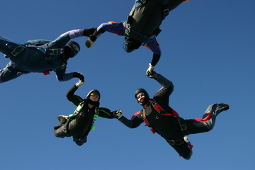 Skydivers form a formation