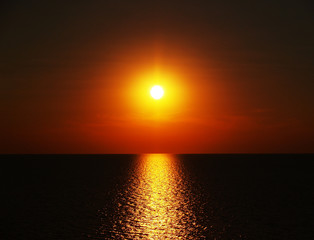 red sunset in the dark sea