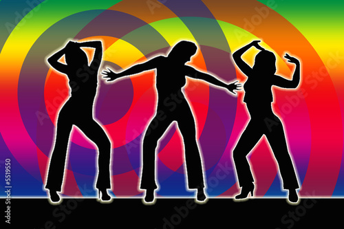 dancing girls silhouette 70er stock photo and royalty. Black Bedroom Furniture Sets. Home Design Ideas