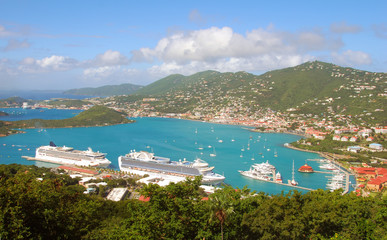 Printed roller blinds Caribbean Aerial view of St Thomas, USVI