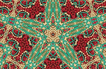 Green, Gold and Red Beaded Abstract Star Background