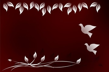 Floral Design Background with Doves