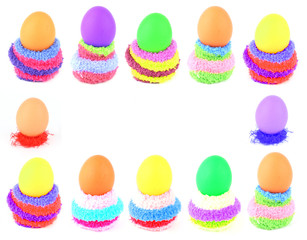 easter eggs in multicolored fluffy clutches