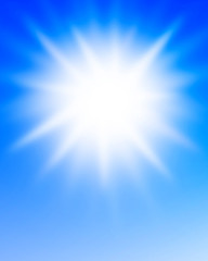 Sunlight in a clear blue sky