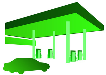 green car and petrol station