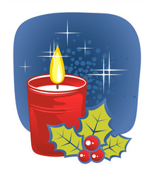 candle and holly berry