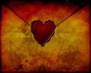 Old paper love letter with seal