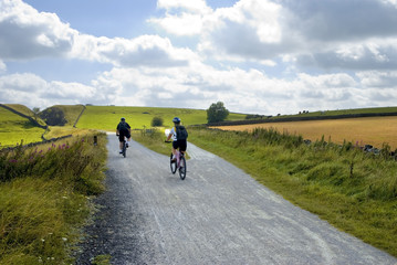 Cyclists on the Tissington trail cycleway and footpath
