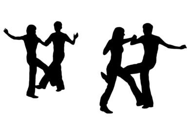 Black silhouettes of dancings.